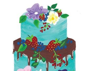 Cake Illustration 8x10 Print - Original Gouache and Watercolor Print- Wall Art - Kitchen Art