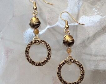 Shell and Hoop Dangle Earrings