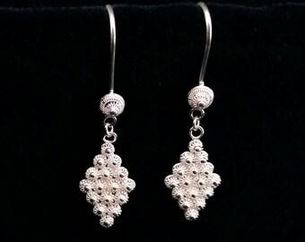 Sterling Silver Earrings with Charro Motive Rombo, Spanish Design Earrings, Handmade