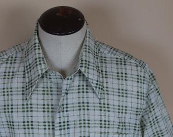 Mens Vintage 1970s Short Cuffed Sleeve Shirt Cotton Blend