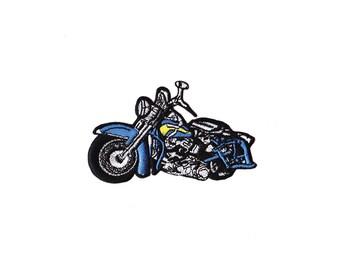 Motorbike Patch - Blue Motorbike Iron on Patch -  Motorbike Iron on Applique
