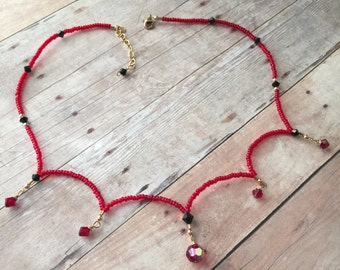 Unique Swarovski Necklace   Siam and Black Crystals   14 Karat   Goldfilled   Red Seed Beads   Elegant