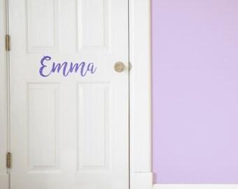 Custom Name Glitter Vinyl Door Decal