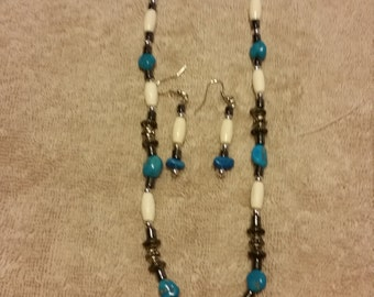 Bone and Turquoise Necklace and Earring Set