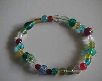 Stretch multi-colored glass bead ankle bracelet