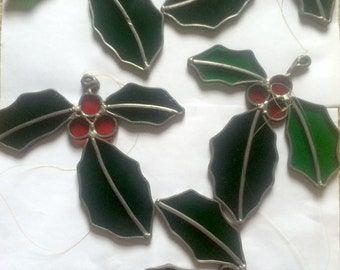 Set of 5 Vintage Stained Glass Holly Suncatchers
