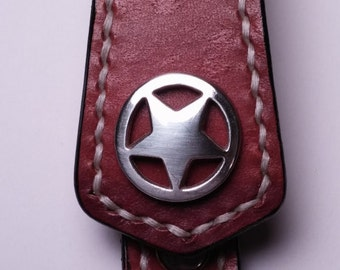 Hand stitched leather keychain