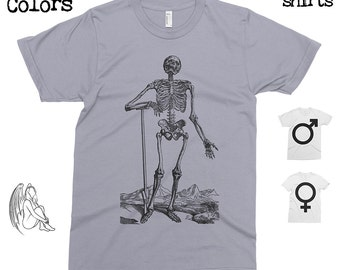 Skeleton 2 - Andreas Vesalius T-shirt, Tee, American Apparel, Skull, Medical, Engraving, Anathomy, 16th century, Cute Gift