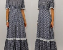 Vintage 70's Gingham Maxi Dress 1970s handmade blue checkered prairie dress full skirt wizard of oz dorothy costume Small retro clothing