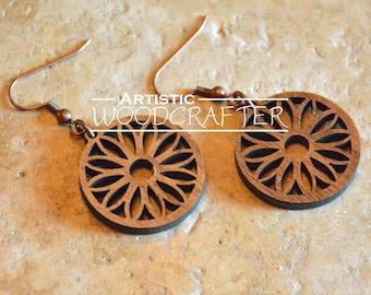 Wooden Flower Earrings (Walnut)