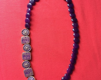 Jewelry Necklace -  Purple bead necklace FREE SHIPPING