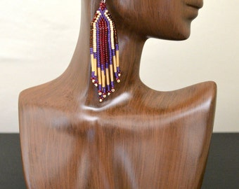 Long Red-Violet and Pearl White Beaded Earrings