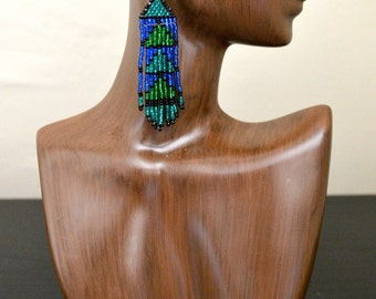 Long Graphic Blue and Green Beaded Earrings