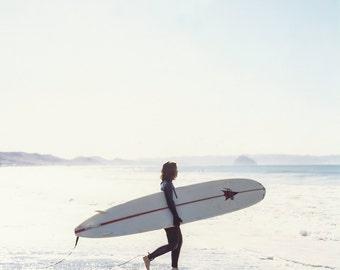 Surfer Girl, Surf Beach Photo, Surfboard, Surfer Girl Morning, Square Photo, Fine Art Photo, Wall Art, Fine Art Print, Room Decor