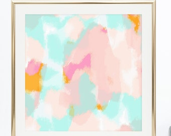 Pink abstract / pink and blue / Printable artwork / Instant download / home decor / office print / gift for her / affordable print