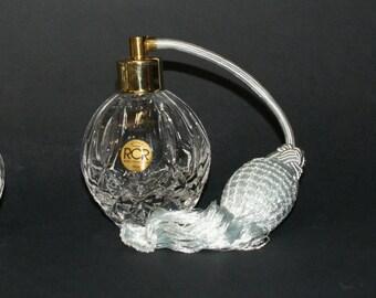 "Nouveau RCR Instruction Cristal de Parfum Parfum Spray Bouteilles Pearl Grey Long Brass Pump-Spray Perfume original Vintage 50 Years """