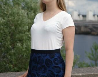 Formal blue skirt with black leaf print Highwaisted A-line polyeser skirt Handmade knee-lenght skirt Women's skirt made from vintage fabric