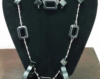 Black Squares, Handbeaded, Silver Jewelry Set