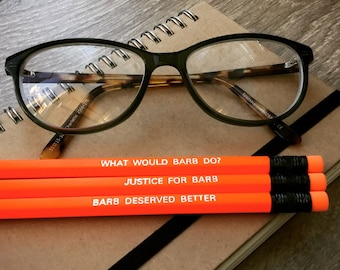 PENCILS: Stranger Things BRB Pencil Set, 3 Engraved Pencils, Quote Pencils, Small Gifts, Office & School Supplies, Stationery Writing Gift!