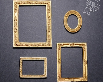 Miniature resin frames for dollhouse, gold tone, mixed set of 4 pieces ~ 1:12