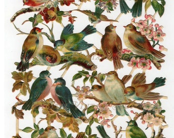Vintage Victorian Die Cut Scraps of Birds on Branches Digital Download