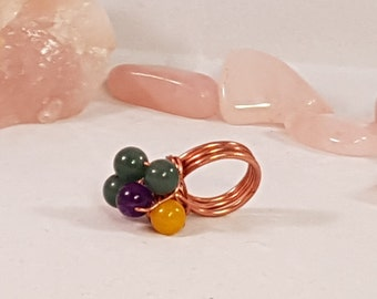 Green Aventurine, Amethyst, Yellow Jade, Copper Wire Ring SIZE L