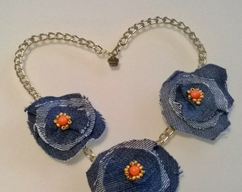 Fabric Flower necklace and beaded denim Flora