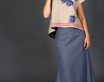 Blue Maxi skirt with lining and yoke