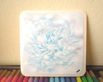 Blue peony watercolour coasters or wall decor (set of 4)