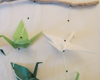 Origami Mobile//Beaded Origami Crane Mobile with driftwood//Crane Mobile//Paper Crane Mobile//Baby Mobile//Nursery Mobile//Simple//Natural//