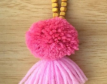 Pink & Yellow Pompom Tassel Necklace
