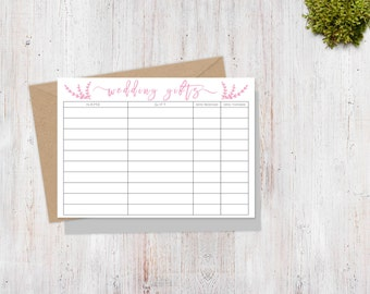 Wedding Gift Log Template : Wedding Gift Tracker Sheet Printable/Wedding Thank You Gift