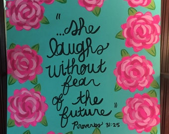 Lilly Pulitzer inspired painting with Bible Verse