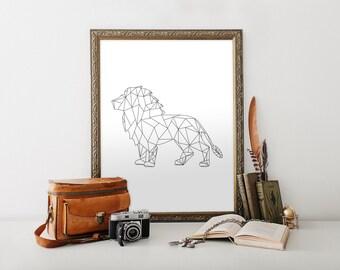 Geometric Animal Print, Geometric Lion Print, Geometric Art, Black and White Wall Art, Digital Print, 11x14 Print, 8x10 Print