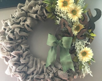 "13"" Burlap Wreath with Wooden Browning Symbol"