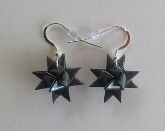 Moravian Star Earrings—Shimmer Charcoal