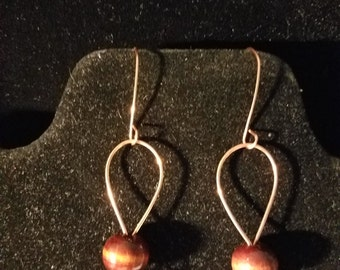 Copper Wire Wrapped Earrings with Wooden Bead