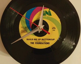 "Vinyl Record Clock ""Build Me Up Buttercup"" by The Foundations"