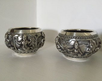 Solid Silver Burmese Deity/Gods High Relief Decorated Bowls - c19th