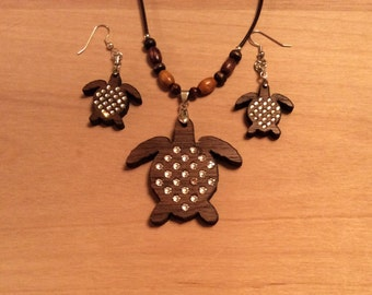 Sea turtle necklace and earring set with inset Swarovski crystals