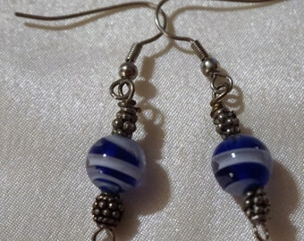 blue and white glass bead dangle earrings