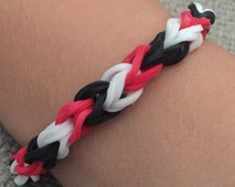 Red White and Black Rubber Band Bracelet