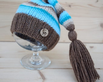 Newborn Elf Hat, Knitted Baby Boy Hat, Knit baby hat, Striped Elf hat with tassel, Photo prop