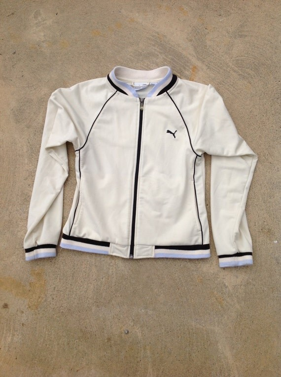Vintage PUMA Track Jacket // Ivory, Blue, and Black // Size SMALL // Rubber zipper // Classic design