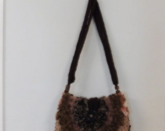 Beautiful handmade bag in shades of brown with free matching scarf