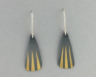 Dangle Earrings, 23.5k Gold, Keum boo, Oxidized, Black and Gold, Unique Earrings, Fine Silver, Handmade, Ready to Ship