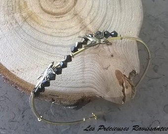 End colour gold, Beads Bracelet black and swallows