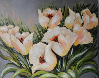 Oil Painting ' White Tulips'  61CMx76CM Flowers Leaf Green