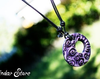 Purple Swirl Pendant Necklace - Spiral - Air Dry Clay - Handmade - Hand Painted