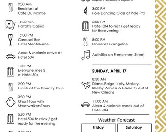 Custom Event Itinerary